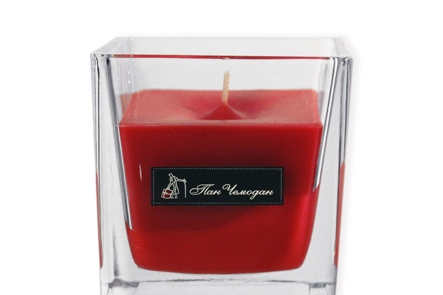 candle in a glass square